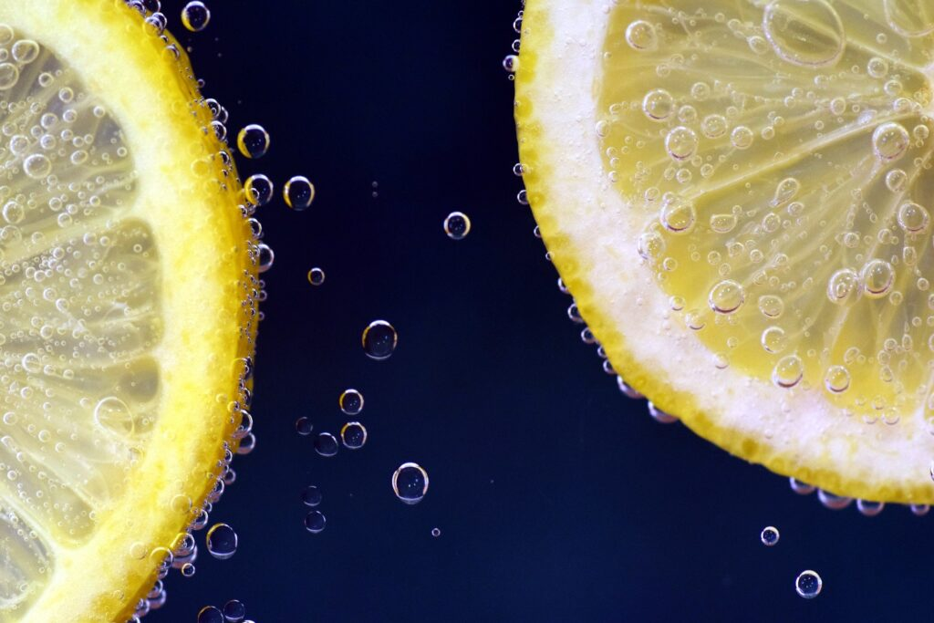 Slices of citrus in sparkling water