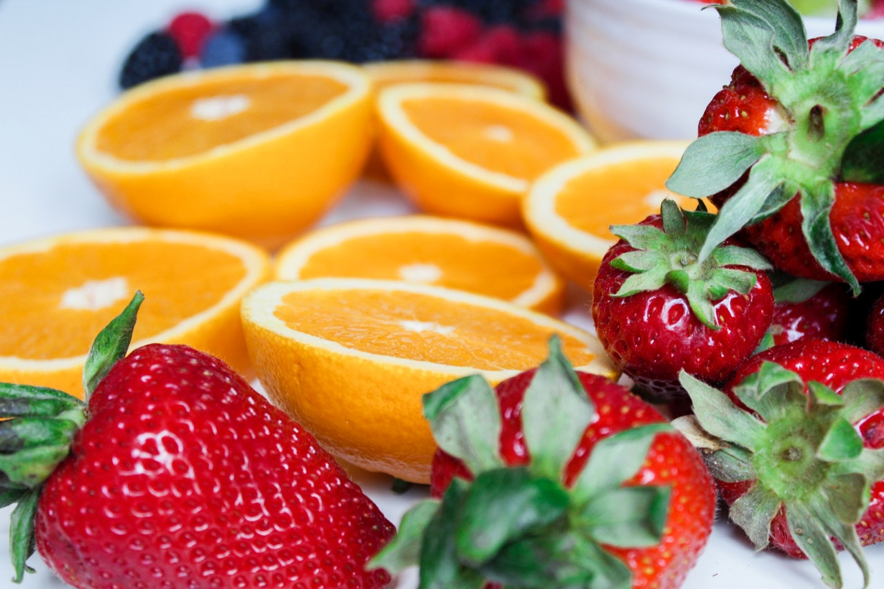 Fresh strawberries and citrus, used in skincare recipes