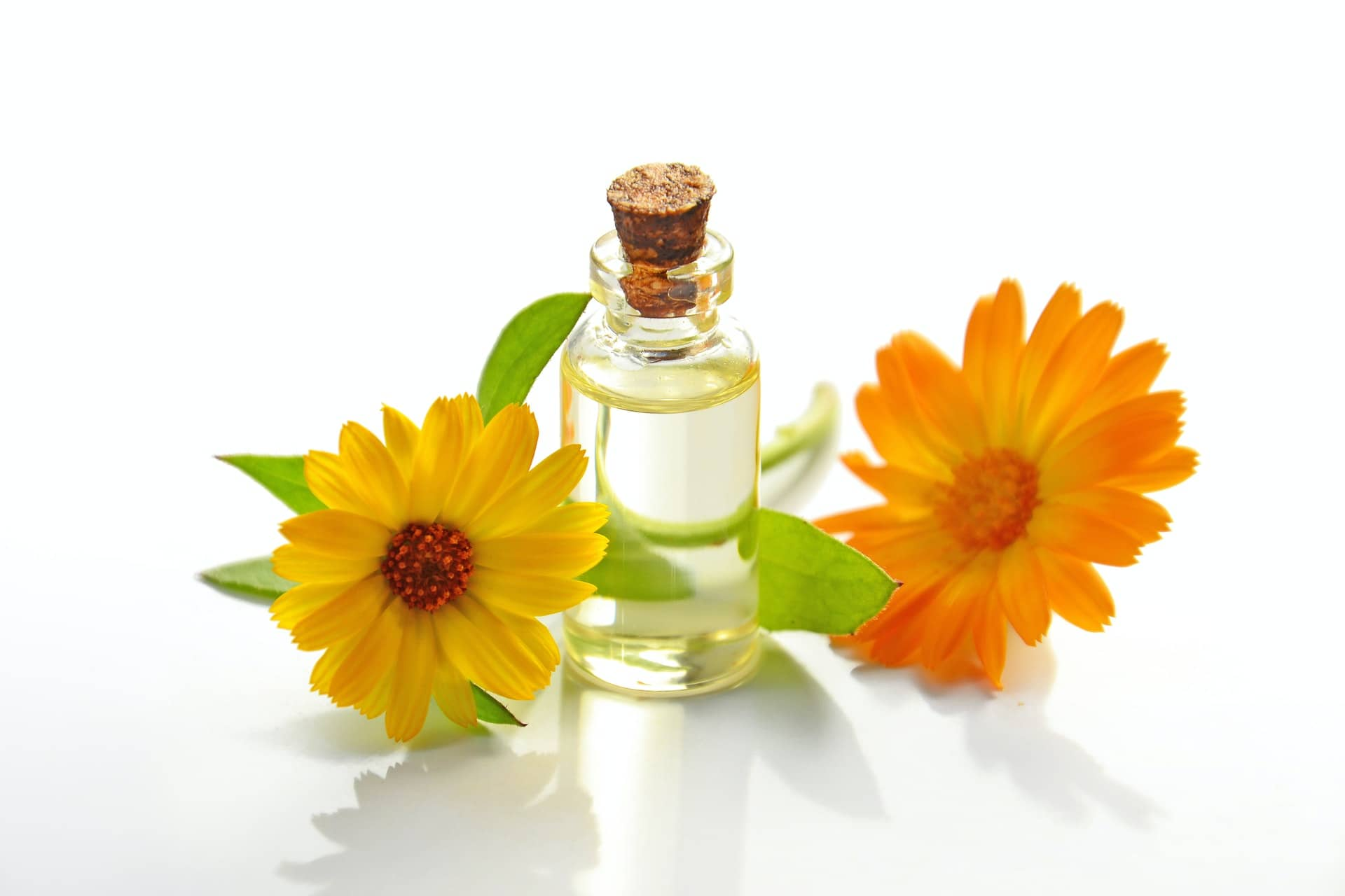Oil in a clear glass bottle, surrounded by Gerbera flowers which are yellow and orange.